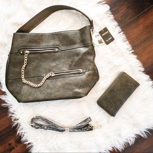 Le Miel Vegan Leather Olive Crossbody bag/wallet